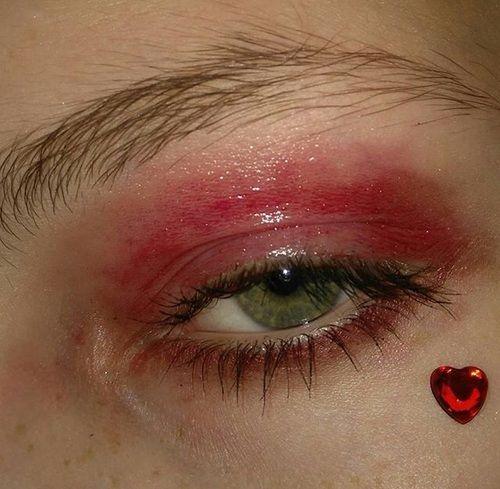 Heart Makeup And Red Image Aesthetic Makeup Eye Makeup Cute