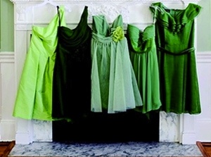 brides maid dresses- I like the different shades of green
