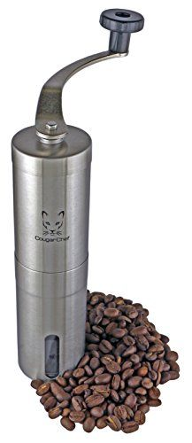 Cougar Chef Manual Coffee Grinder - Hand Crank Coffee Mill with Adjustable Conical Ceramic Burr and Stainless Steel Body - French Press and Aeropress Compatible Hand Coffee Grinder *** Check this useful article by going to the link at the image. #CoffeeGrinders