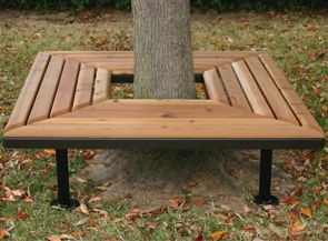 Wood work wrap around tree bench pdf plans for Wrap around desk plans