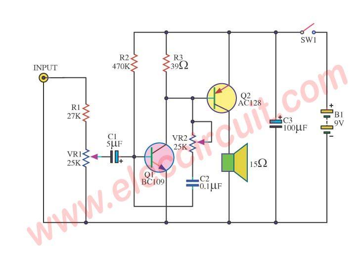 Simple Audio Amplifier Circuit Diagram Using Transistor Eleccircuit Com Audio Amplifier Amplifier Circuit