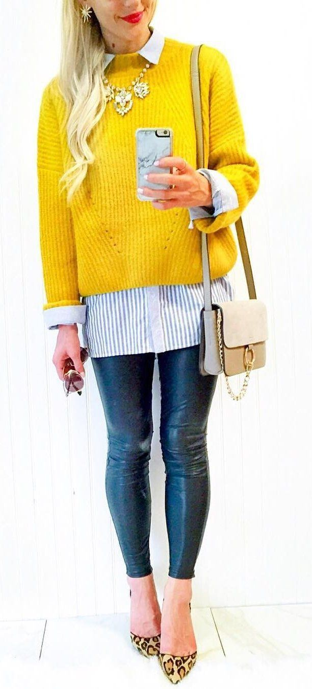 Yellow Knit + Leather Leggings + Leopard Pumps                                                                             Source