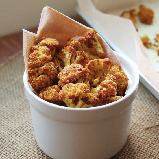 Spicy garlicky crunchy goodness. Baked cauliflower florets you can make in 20 minutes.