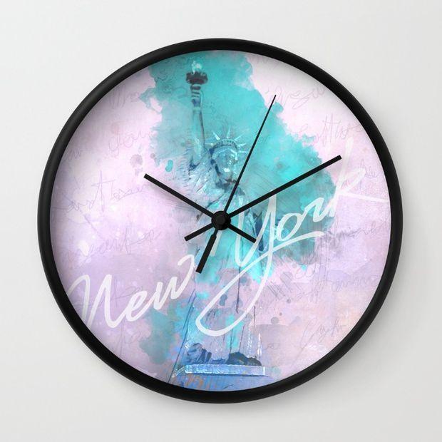 New York City - Statue of Liberty - Purple Wall Clock by Pentagonixmedia