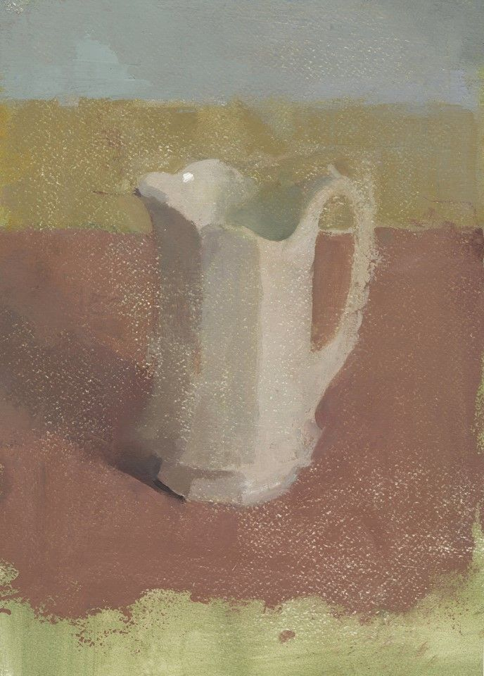 "Nicholas Mancini, 'Faceted Pitcher' oil on paper, 12"" x 8.75"" 2014  https://www.facebook.com/photo.php?fbid=10152453462152692"