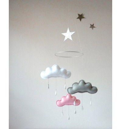 Móbil Nubes Gris Rosa