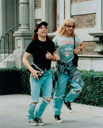 "Garth Algar (Dana Carvey): ""Did you ever see that ""Twilight Zone"" where the guy signed a contract and they cut out his tongue and put it in a jar and it wouldn't die, it just grew and pulsated and gave birth to baby tongues? Pretty cool, huh?"" -- from Wayne's World (1992) directed by Penelope Spheeris / pinterest ↠ katelinmargerett"