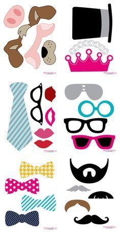 Imprimibles gratis para fotos en fiestas photocall bodas nochevieja, gafas, bigote, pajatita, sombrero, labios Free Photo Booth Props Printable