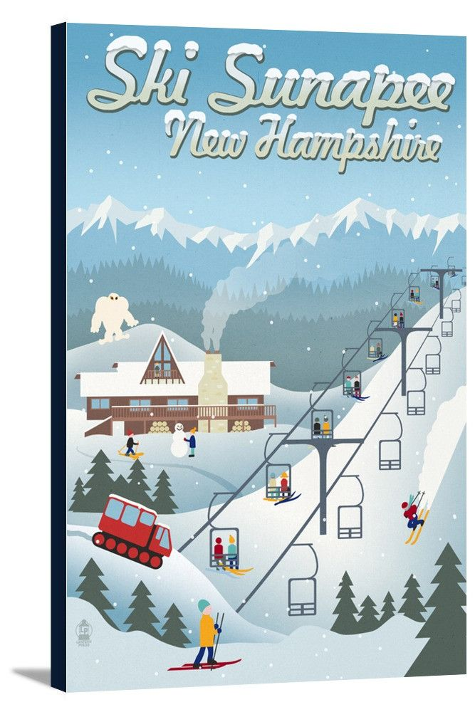 Sunapee, New Hampshire - Retro Ski Resort - Lantern Press Artwork