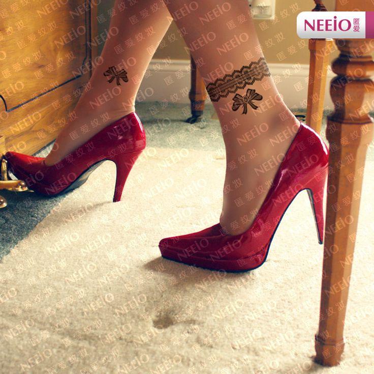 mulheres belas tatuagens temporárias diy rendas anel arco mulheres sexy tornozelo pulseira cadeia foot impermeável corpo tatuagem adesivos maquiagem em Tatuagens Temporárias de Beleza & saúde no AliExpress.com   Alibaba Group