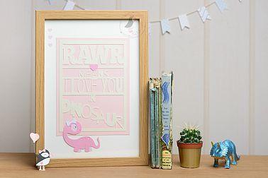 Pink Puffin Crafts | Rawr Dinosaur | Pink | Baby | Nursery Decor