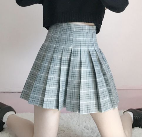 Grid Pleated Skirt