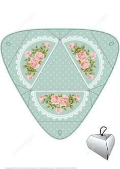 Handmade Gift Box Template with Roses Paper craft: