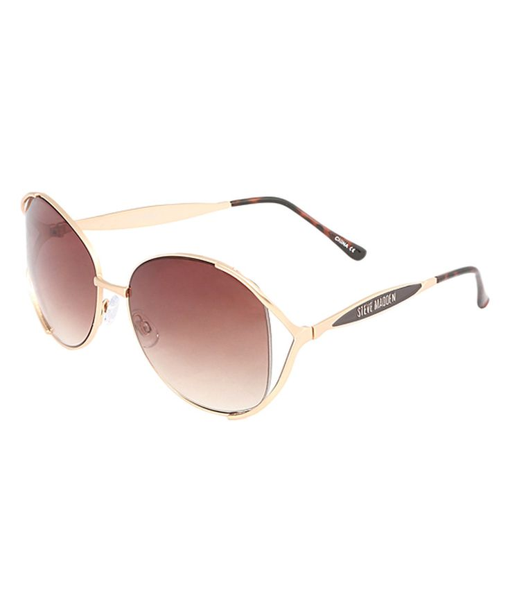 Loving this Steve Madden Gold & Brown Oval Sunglasses on #zulily! #zulilyfinds