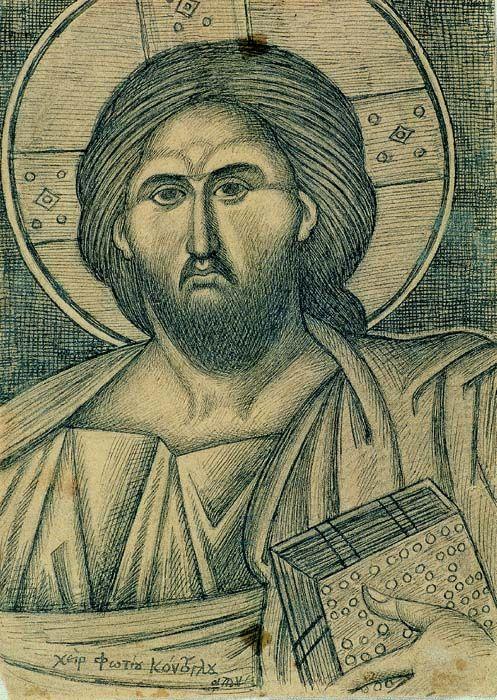 Ο Παντοκράτωρ του Τρούλου μελάνι και μολύβι σε χαρτί 26,5x19 εκ.