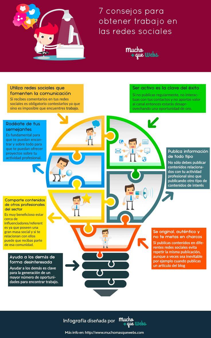 Infografia en castellano con 7 consejos para obtener trabajo en las redes sociales by @muchomasquewebs