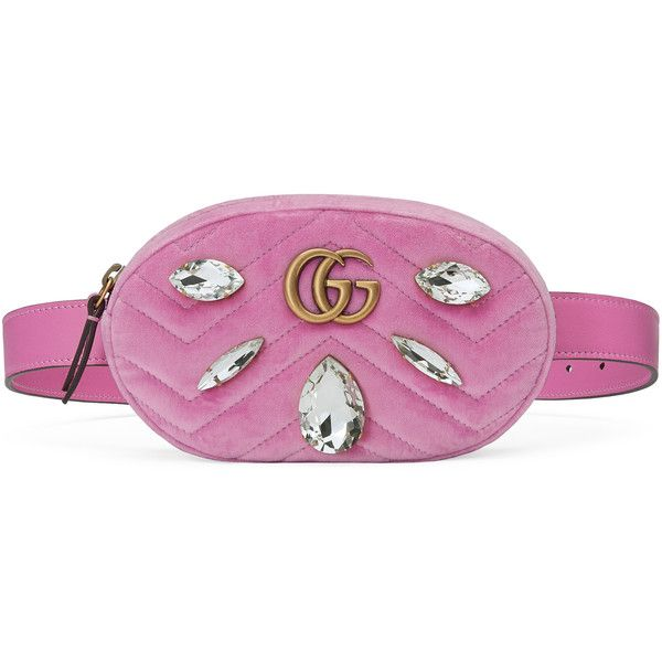 568eac6a3 Gucci Gg Marmont Velvet Belt Bag ($1,290) ❤ liked on Polyvore featuring bags,  handbags, pink, purple purse, cross-body handbag, waist fanny pack, ...