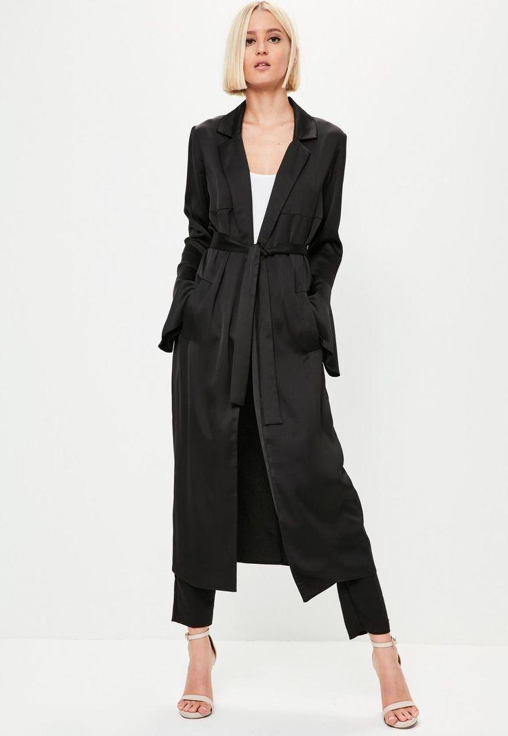 Missguided - Black Premium Satin Flare Sleeve Duster Jacket