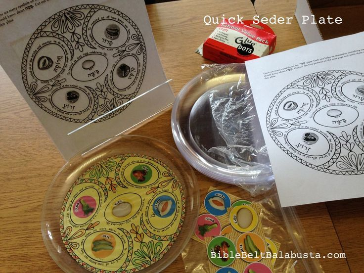 Quick Seder Plate for kids: (any) printable sandwiched between two plastic plates