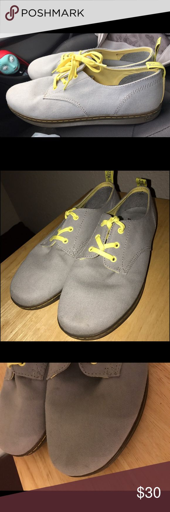 Dr martens gray yellow men shoes. Size 13. Dr martens airware size 13 men's shoes. A few scuffs on one shoe but in very good condition. Pls see photos , pre worn . No box Dr. Martens Shoes Loafers & Slip-Ons