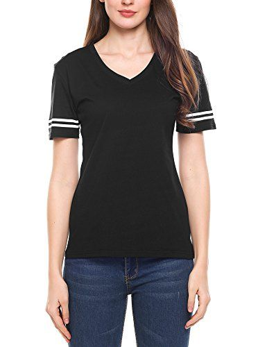 Meaneor Women's Cotton Short Sleeve T-Shirt Tee Blouse Casual Tops Black S   Special Offer: $19.99      422 Reviews Feature Super Comfort: This Football Jersey Is the Top of the Line for Comfort. It's Soft Flowing Fabric Blend Is Perfect for Looking Cute and Feeling...