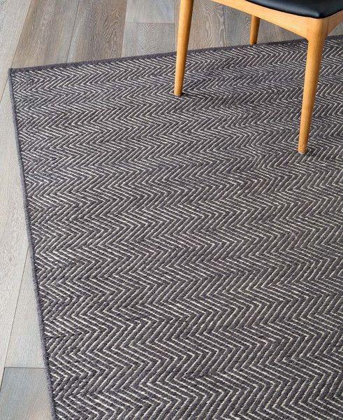 Armadillo Decorator Rugs Earth Collection - Herringbone Weave - Charcoal and Limestone