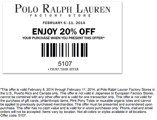 Polo outlet discount coupon