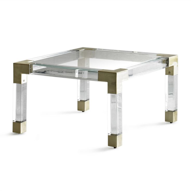 Jonathan Adler Jacques Cocktail Table Lucite And Brushed Brass
