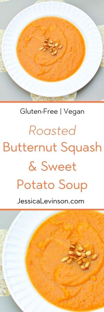 Roasted Butternut Squash Sweet Potato Soup