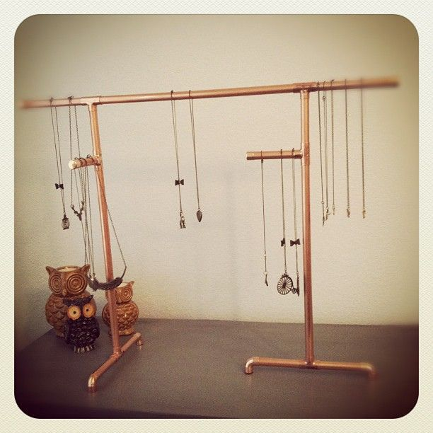 69 best diy jewelry displays images on pinterest jewelry for Copper pipe jewelry stand
