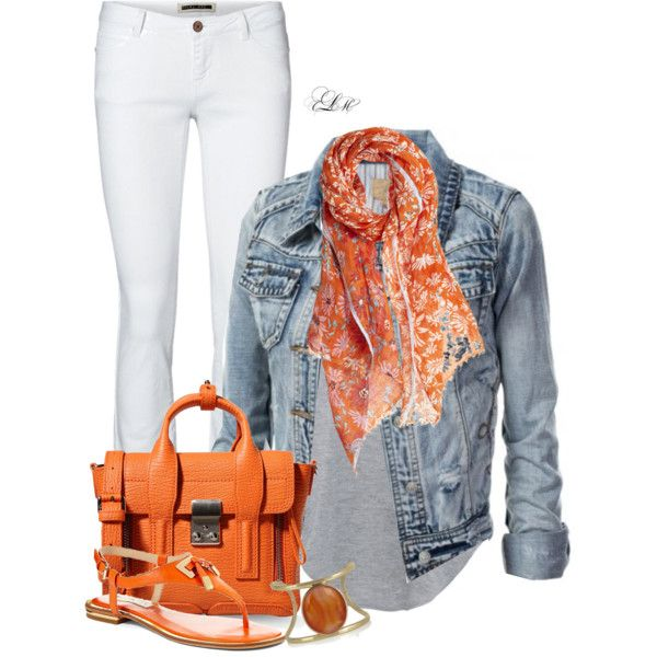 Pair a floral scarf with a denim jacket and white jeans for the perfect spring look.