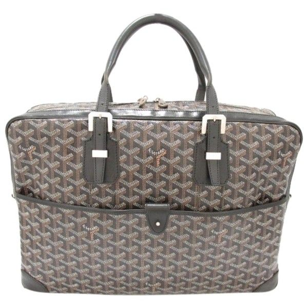 Pre-owned Goyard Auth Coating Canvas Ambassade Mm Business Handbag... ($2,548) ❤ liked on Polyvore featuring bags, handbags, shoulder bags, black, black purse, shoulder strap purses, goyard purse, hobo shoulder bag and black hobo purse