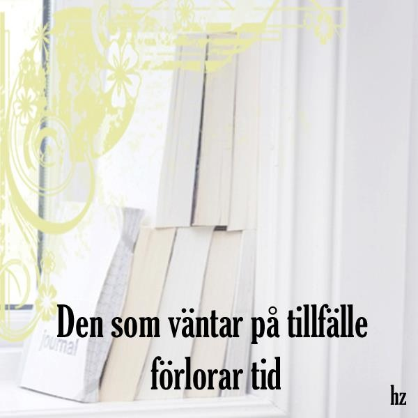 Swedish qoute translate: the one whos waiting for a opportunity loses time