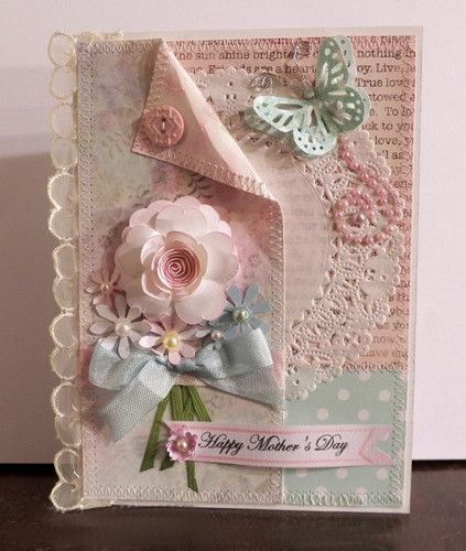 shabby chic mother's day card~~~However, I would use this idea for my first daughter's baby book one day.