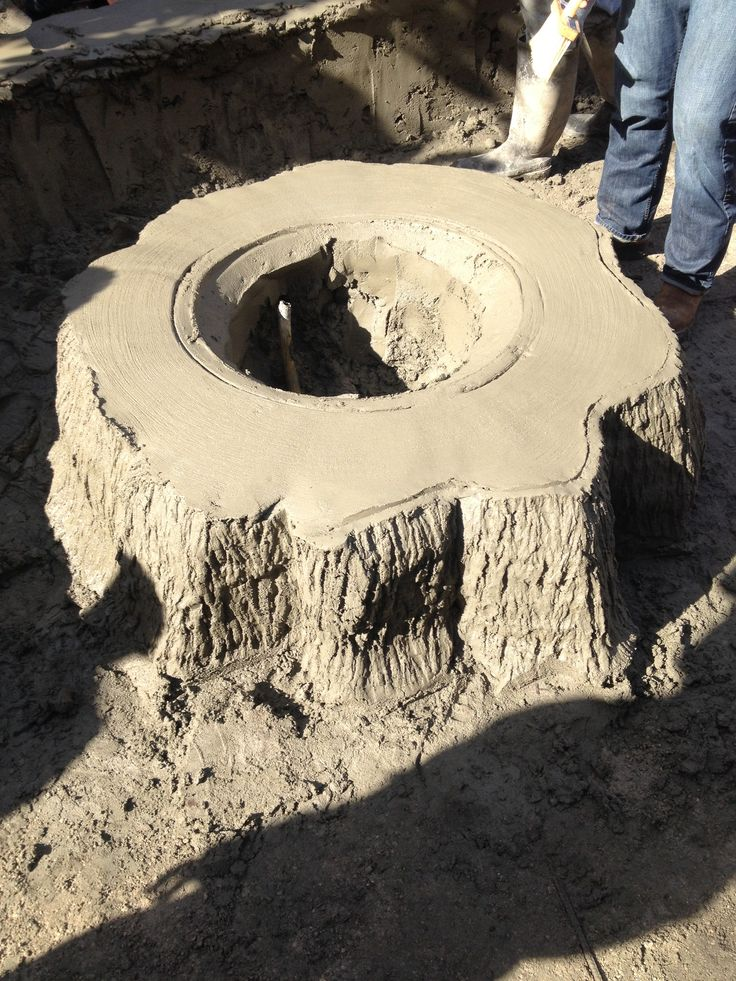 Tree Stump Fire Pit Still Being Sculpted From Concrete