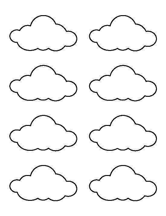 Small cloud pattern. Use the printable outline for crafts, creating stencils, scrapbooking, and more. Free PDF template to download and print at http://patternuniverse.com/download/small-cloud-pattern/