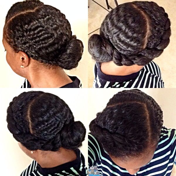 Natural Hair Wavy Hair Flat Twist Bun My Natural Hair