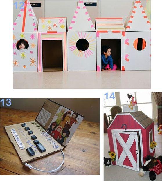 25 formas de reciclar cajas de cartón para que tus hijos se diviertan castillo-y-granero-de-carton