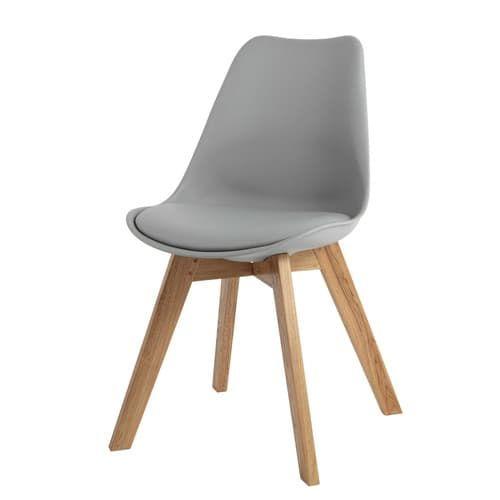 Grijze eikenhouten en polypropyleen stoel