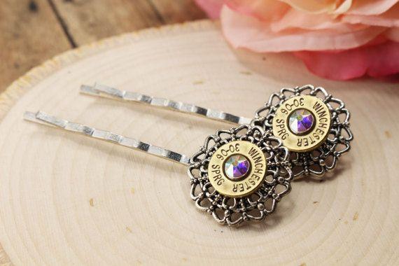 Bullet Jewelry - Bullet Hair Clip - Bullet Hair Pin - Camo Hair Pin  - Bullet Bobby Pin - Silver Bullet Casings - Gun Accessories - Cowgirl