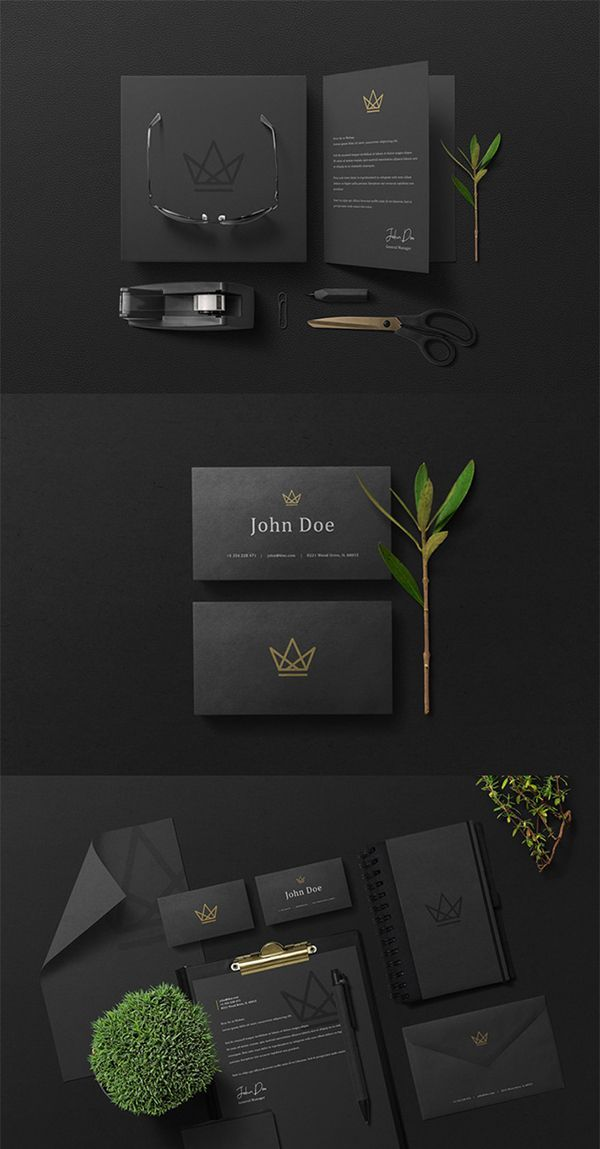 Free Elegant Black Branding Stationery Psd Mockup Graphic Design Free Goods Design Resources Free Graphic Design Branding Design Inspiration Mockup Free Psd