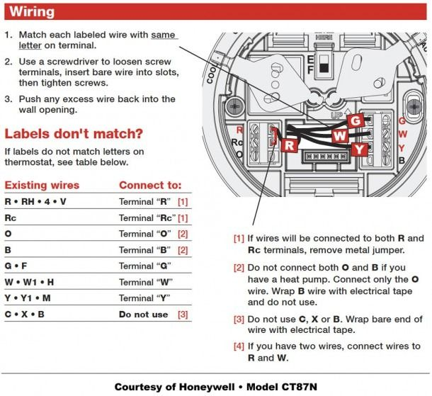 honeywell thermostat wiring diagram  thermostat wiring