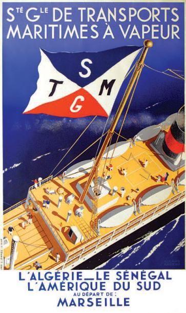 bateau - Sté Gle de Transports Maritimes à Vapeur - L'Algérie - Le Sénégal - L'Amérique du Sud au départ de Marseille.