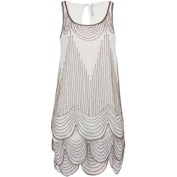 Ivory scallop beaded dress (£59) ❤ liked on Polyvore featuring dresses, vestidos, flapper, women's dresses & skirts, flapper dresses, beaded flapper dress, flapper cocktail dress, beaded cocktail dresses and winter white dress