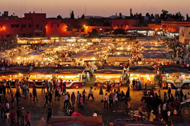 Marrakech, Morocco - Jemaa el-Fna stalls at night