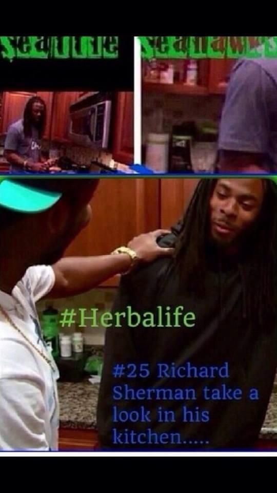 Famous Richard Sherman from the Seattle Seahawks (Superbowl) has plenty of HERBALIFE PRODUCTS in his kitchen. (Look in the left corner) CHAMPIONS fuel with HERBALIFE! There will always be someone faster, stronger, fitter... BE THAT SOMEONE! With Herbalife24!  Feel the difference! All Herbalife products and nutritional/ beauty/success advice  available from: SABRINA INDEPENDENT HERBALIFE DISTRIBUTOR SINCE 1994 https://www.goherbalife.com/goherb/ Call USA: +1 214 329 0702