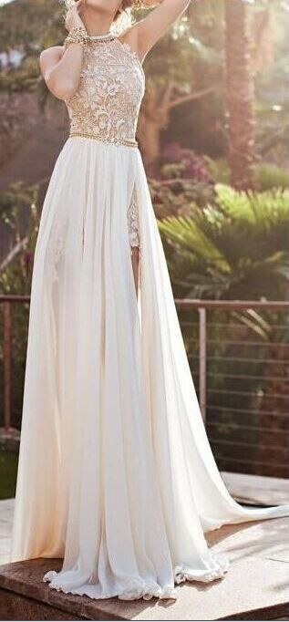 White Lace Chiffon High Neck Bodice Wedding Dress 2015, See Through Front Split Wedding Dresses, Custom Made Wedding Gown, A Line Bridal Dress, Long Lace Sexy Prom Dress