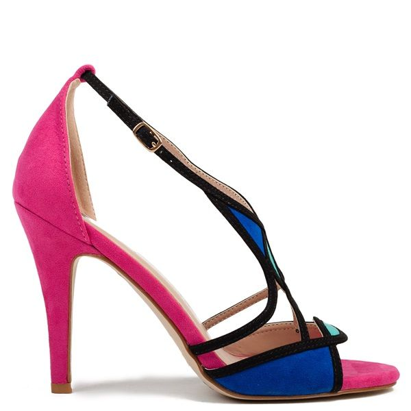 Fuchsia color block high-heel sandal in black, royal blue and light blue colour. Features suede texture and fastens with adjustable ankle strap.