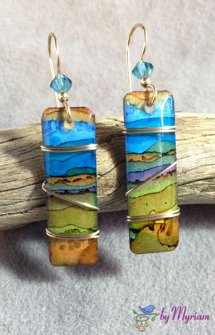 Alcohol ink painting with 14 kt. gold-filled rectangular wirewrap earrings ... from byMyriam.etsy.com