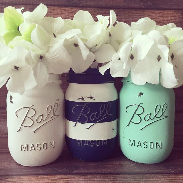 Set of 3 Pint size (16oz) Painted and distressed mason jars. White - Striped Navy - Mint. by AJsLittleShop on Etsy